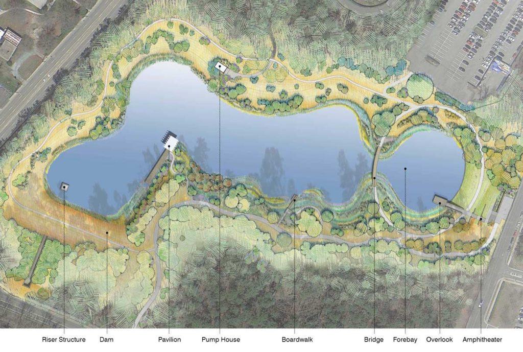 Duke water reclamation pond landezine international for Design of stormwater ponds