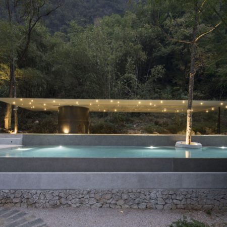 5_Night view of Pool and Yoga Pavilion