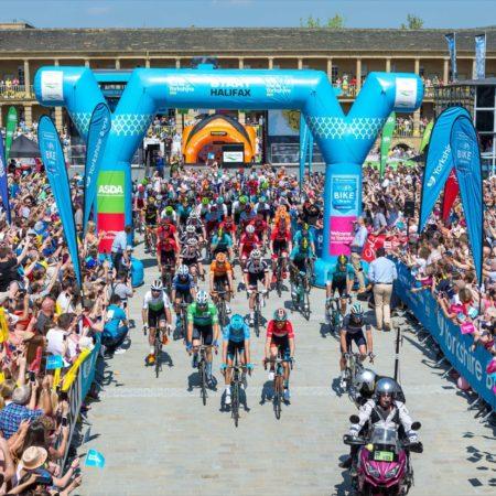 Tour de Yorkshire departure, at the Piece Hall, Halifax