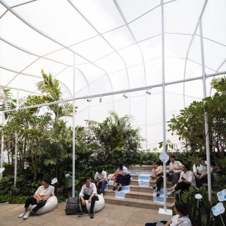 Visitors taking a rest inside the pavilion