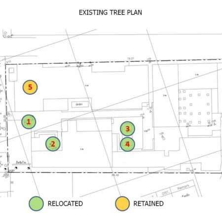 Landscape plan with existing rain trees location