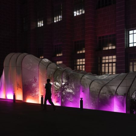 Night time with lighting and experimental music show