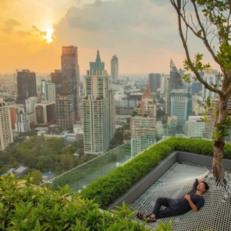 Leisure corner with sunset view