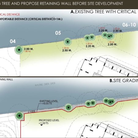 Designer ideas to propose retaining wall before site grading to protect existing trees with safety distance.