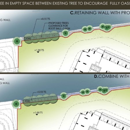 Landscape architect's strategies to propose a row of big trees from start planning  in order to create a green backdrop from main lobby not looking through the tall building at opposite side of canal.