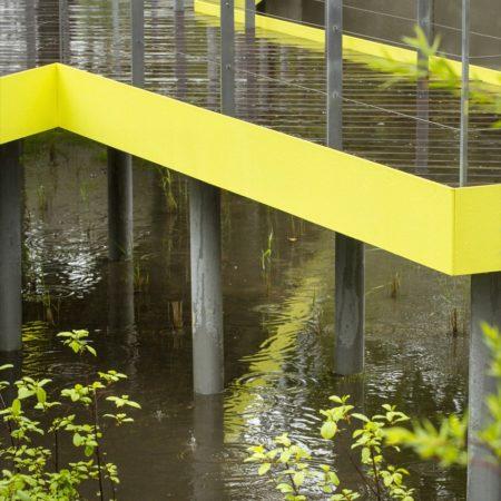 Water under raised pathway