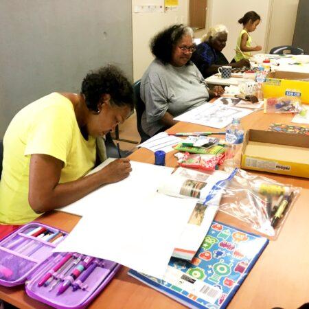 15 LIYAN-NGAN NYIRRWA Yawuru Artists working on concept sketches - Vanessa Margetts