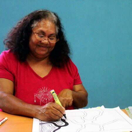 16 LIYAN-NGAN NYIRRWA Yawuru Artist Martha Lee working on concept sketches - Vanessa Margetts