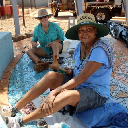 17 Terricita Corpos and Vanessa Margetts working on Mosaic - Nyamba Buru Yawuru