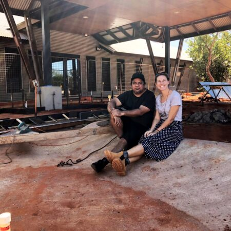 18 Yawuru artist Michael Torres and Vanessa Margetts on site during the construction of tidal pool artwork