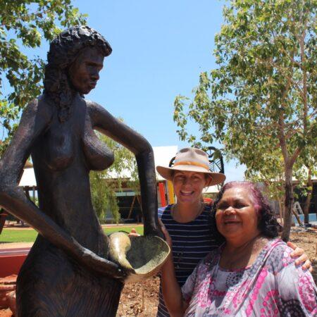 27 Martha Lee and Vanessa with Jarndu sculpture -Nyamba Buru Yawuru