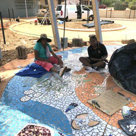 29 Terricita Corpus and Kirra Watson working on the mosaic - Vanessa Margetts