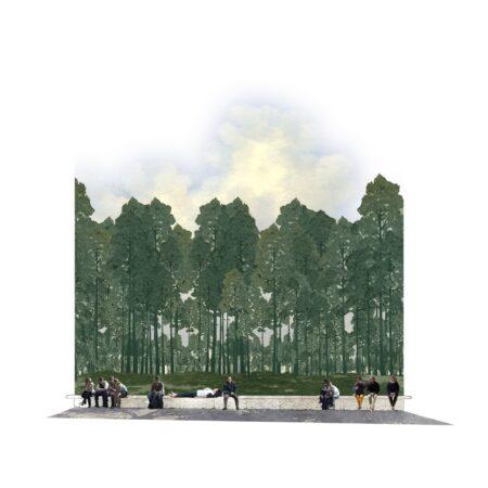 Duke University Nasher Scultpre Garden - Pine Veil and Bench © West 8