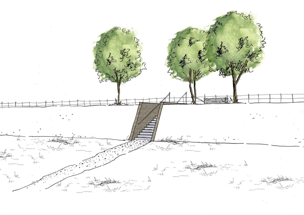 Impression of the entrance with characteristic trees through the steep-edge dike