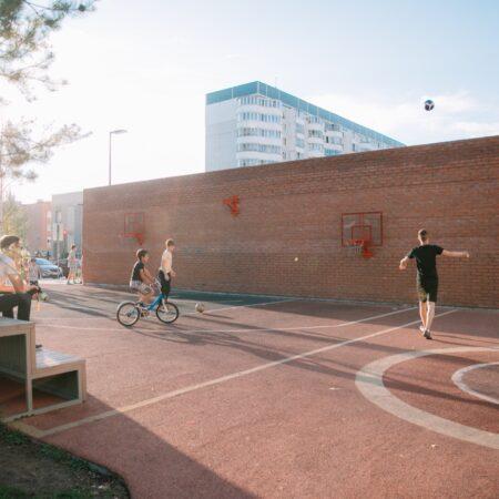 White flowers Boulevard_basketball playground